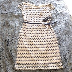 Sharahano net and sequins dress with belt size 6